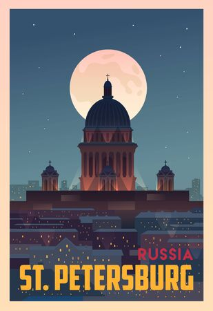 Time to travel. Around the world. Quality vector poster. St. Petersburg.