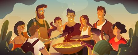 people and food concept - happy friends having meat for dinner at summer garden party at night.