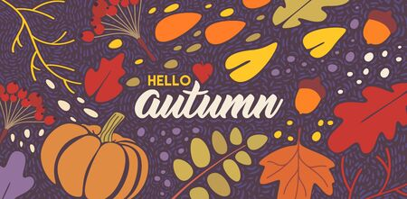 Autumn vector background concept for web, bilboards, adverticing, printing. Flat casual cartoon style. 1