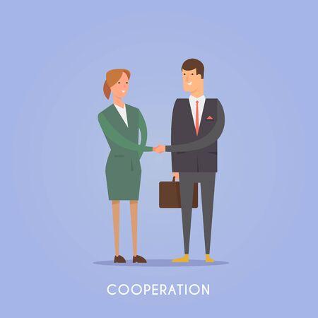 Vector illustration on the theme: startup, team, teamwork, business planning success Cooperation Illustration