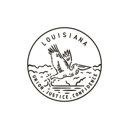 Vintage vector handmade round label. Louisiana. Cormorant Illustration