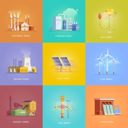 Set of illustrations on the themes of alternative energy, nuclear, hydro, biomass, tidal, solar, wind, geothermal, hydrogen and wave energy. Vector illustrations
