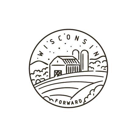 Vintage vector round label. Wisconsin Farm Corn field.