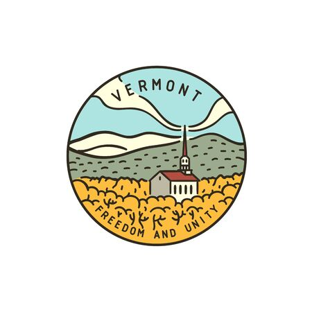 Vintage vector round label. Vermont. Church in the forest.