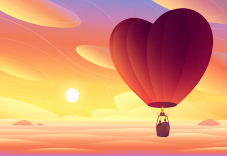 Lovers fly in a hot air balloon. Sunset.