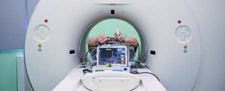 Magnetic resonance imaging scan with patient during the procedure.