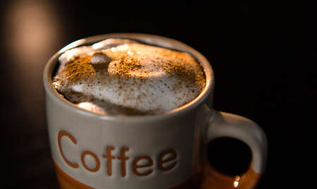 Close up of delicious cappuccino with cinnamon and milk foam in cup on dark table.