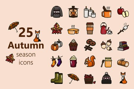 Autumn season icons, hot milk ,tea ,roll cake and marshmallow , fiction books with candle, wool hat and sock
