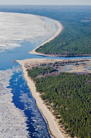 gauja: River Gauja mouth at the Gulf of Riga