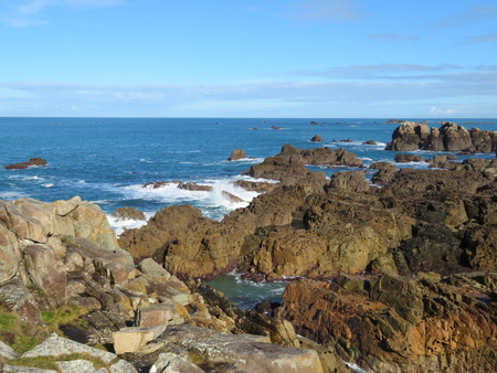 Granite rocks on north Brittany coast Stock Photo