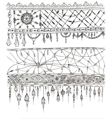 Various chains and string beads. Decorative element of bead design. illustration. Zdjęcie Seryjne