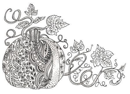 Fairy doodle tingle pumpkin. Black and white monochrome background. Pumpkin and leaves. Zdjęcie Seryjne