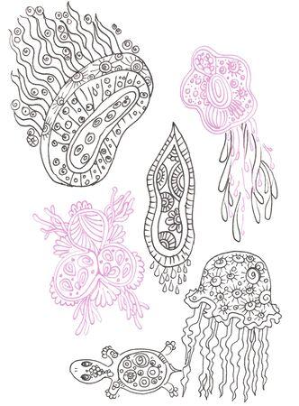 Sketch of sea creatures life elements