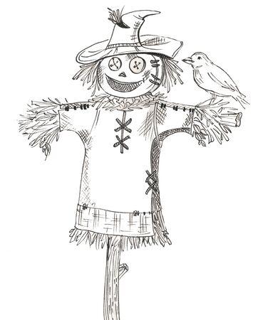 Cartoon scarecrow with bird on white background Stok Fotoğraf