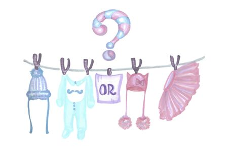 children blue and pink clothes for a reveal gender party Zdjęcie Seryjne