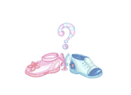 gender reveal party, two blue and pink shoes
