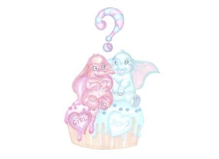 blue and pink cake with elefants for a gender reveal party Zdjęcie Seryjne