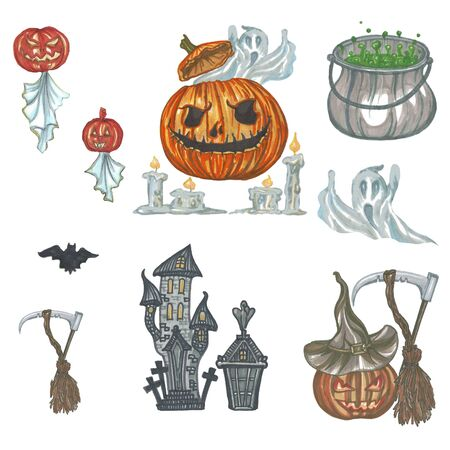 set of elements for halloween party