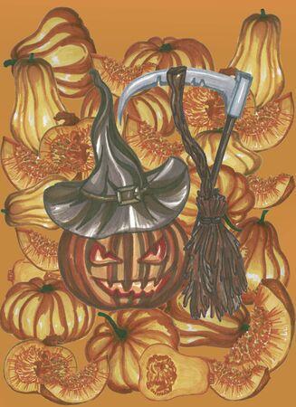 helloween pumpkin in heat on orange background