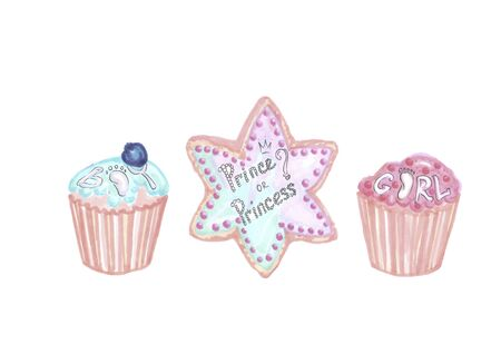 blue and pink elements for a gender reveal party