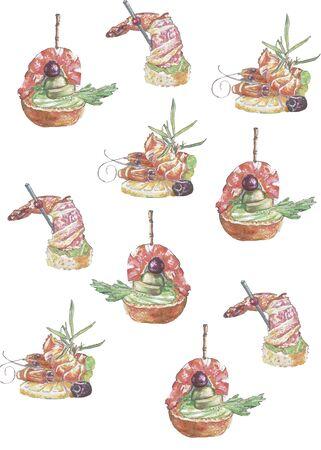pattern set of snack with shrimp