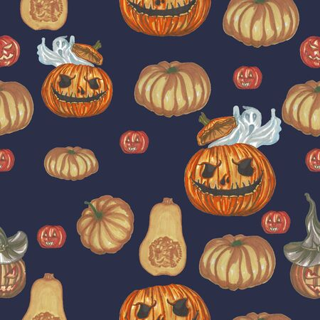 helloween pattern with pumpkins on a blue background