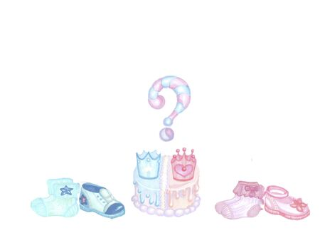 gender reveal party, two blue and pink shoes socks and cake 写真素材
