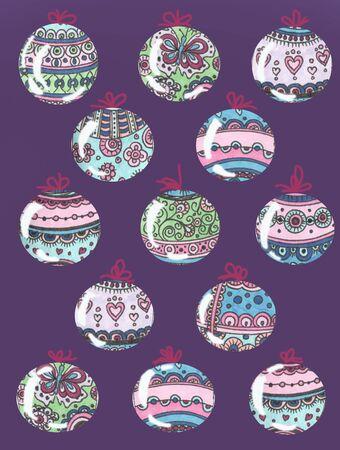 colorful christmas tree toys balls