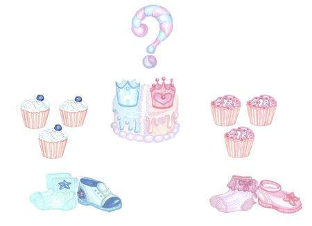 gender reveal party, two blue and pink shoes socks cupcakes and cake