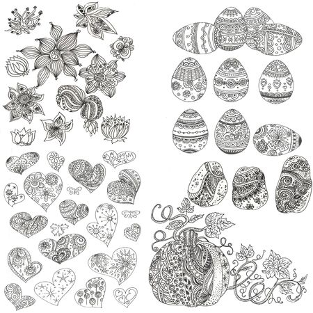 set of black and white doodles zen tangle elements