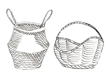 2 wicker old baskets in white and black colors