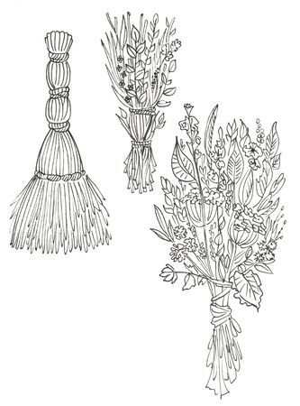 grass and flowers brooms in white and black