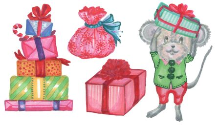 christmas new year presents gifts and little mouse in elf suit