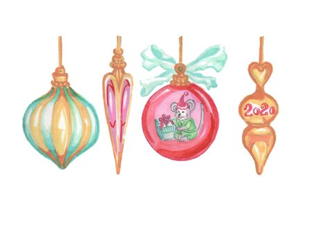 set of new year 2020 christmas tree toys Zdjęcie Seryjne