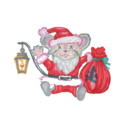 christmas new year santa claus mouse presents gifts
