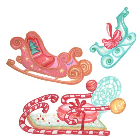 New Years sled, toy sled, Santa Claus sled Zdjęcie Seryjne