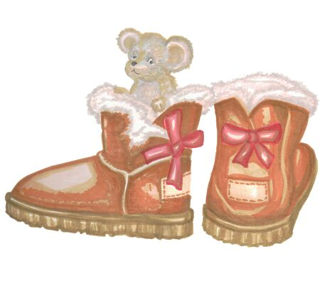 Winter brown ugg with little mouse