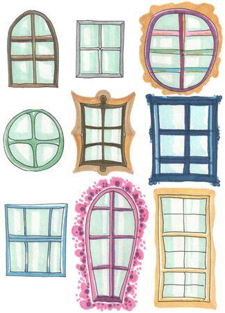 set of the various types of windows Zdjęcie Seryjne