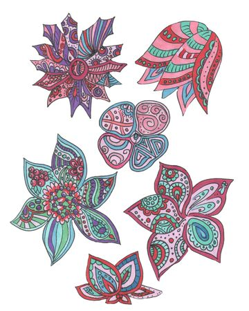 doodle colored flowers set on a white Zdjęcie Seryjne