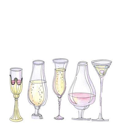 set of various glasses on a white Zdjęcie Seryjne