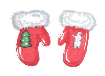 christmas new year red mittens Zdjęcie Seryjne