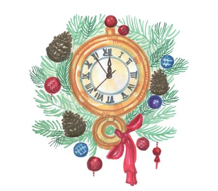 christmas new year wall clock on a white background