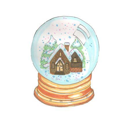 christmas new year snow glass globe Zdjęcie Seryjne