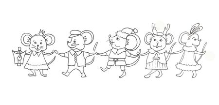 Running and dancing mice hold the hands