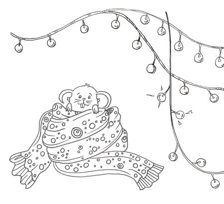 mouse in a big scurf and christmas lights garland on a white background
