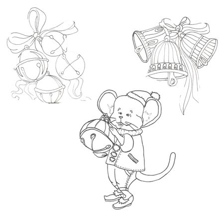 hristmas bells and mouse in a suit with a bell on a white background Zdjęcie Seryjne