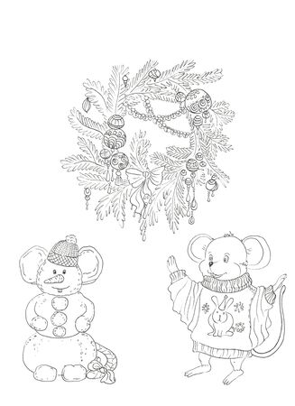 christmas elements - snow wreath, snowman and mouse