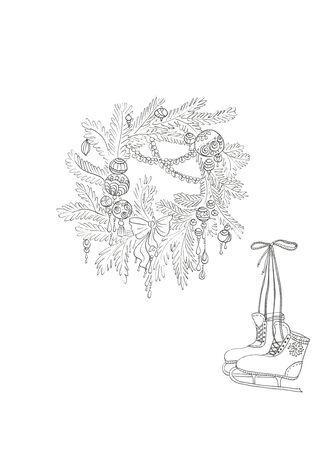 christmas snow wreath and skates