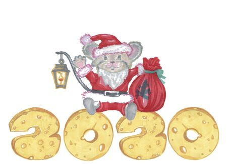 2020 year mouse santa claus with presents and 2020 new year cheese numbers