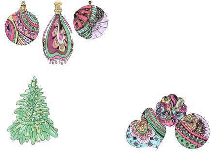 Christmas tree toys and balls and tree Zdjęcie Seryjne